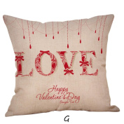 ZycShang Happy Valentine Red Heart Love Letter Pattern Square Throw Pillow Cases Linen Flax Sofa Cushion Cover Home Decor Pillow Case