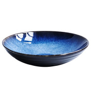 LGK & FA Creative Ceramic Bowl Fresh Fruit Salad Bowl Italy Soup Noodles Bowl Household Western-Style Food Plate Large Soup