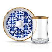 Istanbul Tiryaki Tea Glass and Saucer - Clover
