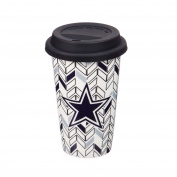 Team Sports America 3TML3808 Dallas Cowboys Chevron Travel Cup, White