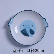 LGK & FA Ceramic Plate Creative Fruit Plate 20cm Watermelon Disc Japanese Steak Dish Dessert Tray Hand-Painted Tableware N