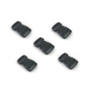 Plastic Side Quick Release Buckle Clip Cord Strap Backpack Bag Replacement Black 5 PCS