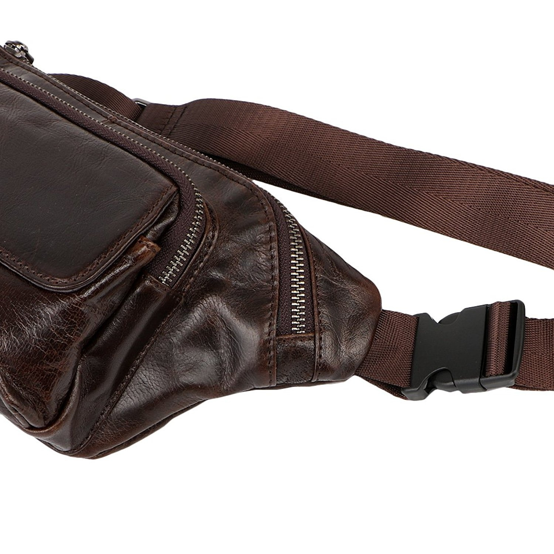 1843bd2b1eae kilofly Leather Adjustable Waist Band Fanny Pack Belt Pouch Bum Bag + Money  Clip