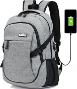 Laptop Computer Backpack Hopesport External USB Charge Port with Built-in USB Charging Cable School Travel Backpacks
