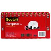 Scotch Transparent Tape, 1.9cm x 2540cm , 2.5cm Core, Clear, 24/Pack