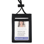 Advantus ID Badge Holder w/Convention Neck Pouch, Vertical, 2 3/4 x 3 1/2, Black, 12/Pack