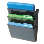 DocuPockets Three-Pocket Wall Set, Plastic, Letter, 13 x 4 x 7, Black