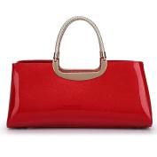 Elegant Patent Leather Ladies Bag Retro Bright Leather Handbag Wedding Bag Bridal Bag Banquet Bag Fashion Pillow Bag,FlashRed-OneSize