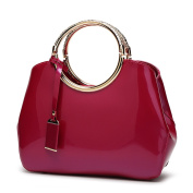 Red Bridal Wedding Package Stylish Patent Leather Handbags Messenger Bags Handbags Ladies Wild Shoulder Bag,Burgundy-OneSize