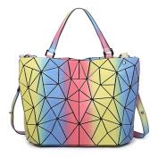 Luminous Bucket Bag Handbag Diamond Stitching Shoulder Messenger Bag Handbags,Multi-coloured-L