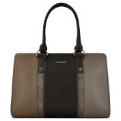 David Jones - Women top-handle bag - Python details and imitation leather - Lady handbag - Camel Taupe Khaki Brown