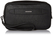 Armani Jeans Men's Faux Leather Grained Wash Bag Black