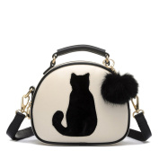 OURBAG Girls Small Cute Cat Cartoon PU Leather Shoulder Cross-body Bag Dual Layers Purse with Tassel Beige