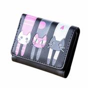 BESTOPPEN Women Wallet,Ladies Girls Lovely Cat Print Leather Handbag Fashion Coin Purse Short Wallet Casual Card Holders Handbag Messenger Package Bag for Women