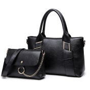 Miss Lulu 2pcs Top Handle and Pouch Set Pu Leather Leisure Handbag For Woman Black
