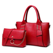 Miss Lulu 2pcs Top Handle and Pouch Set Pu Leather Leisure Handbag For Woman Red