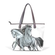 BENNIGIRY Women's Large Handbags Tote Bags Arabian Horse Patern Leather Top Handle Shoulder Bags