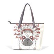 BENNIGIRY Women's Large Handbags Tote Bags Indian Dog War Bonnet Patern Leather Top Handle Shoulder Bags