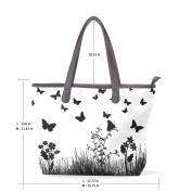 BENNIGIRY Women's Large Handbags Tote Bags Butterflies Flowers Patern Leather Top Handle Shoulder Bags