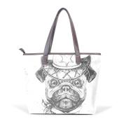 BENNIGIRY Women's Large Handbags Tote Bags Retro Hipster Animal Pug Dog Patern Leather Top Handle Shoulder Bags