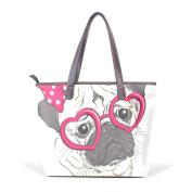 BENNIGIRY Women's Large Handbags Tote Bags Fashion Portrait Pug Dog Patern Leather Top Handle Shoulder Bags