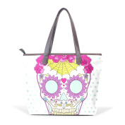BENNIGIRY Women's Large Handbags Tote Bags Colourful Sugar Skull Patern Leather Top Handle Shoulder Bags