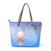 BENNIGIRY Women's Large Handbags Tote Bags Lotus Flower Patern Leather Top Handle Shoulder Bags