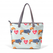 BENNIGIRY Women's Large Handbags Tote Bags Dachshund Dog Polygon Patern Leather Top Handle Shoulder Bags
