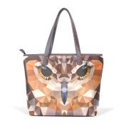 BENNIGIRY Women's Large Handbags Tote Bags Owl Head Patern Leather Top Handle Shoulder Bags