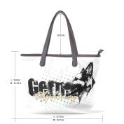 BENNIGIRY Women's Large Handbags Tote Bags German Shepherd Dog Patern Leather Top Handle Shoulder Bags