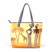 BENNIGIRY Women's Large Handbags Tote Bags African Women Patern Leather Top Handle Shoulder Bags