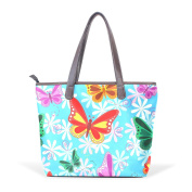 BENNIGIRY Women's Large Handbags Tote Bags Colourful Butterfly Patern Leather Top Handle Shoulder Bags