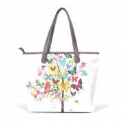 BENNIGIRY Women's Large Handbags Tote Bags Tree Butterfly Patern Leather Top Handle Shoulder Bags