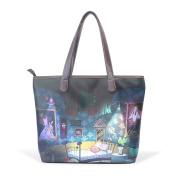 BENNIGIRY Women's Large Handbags Tote Bags Alice In Wonderland Patern Leather Top Handle Shoulder Bags