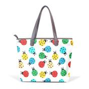 BENNIGIRY Womens Ladybug Shoulder Bags Leather Tote Top Handle Bags Ladies Handbag
