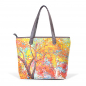 BENNIGIRY Womens Watercolour Art Tree Painting Shoulder Bags Leather Tote Top Handle Bags Ladies Handbag