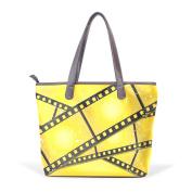 BENNIGIRY Womens Grunge Filmstrips Shoulder Bags Leather Tote Top Handle Bags Ladies Handbag