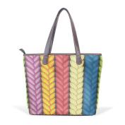 BENNIGIRY Women Large Tote Top Handle Shoulder Bags Multicolor Abstract Patern Ladies Handbag