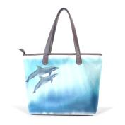 BENNIGIRY Dolphins Leather Tote Bag Handbag Shoulder Bag for Women Girls