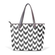 BENNIGIRY Chevrons Leather Tote Bag Handbag Shoulder Bag for Women Girls