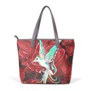 BENNIGIRY Womens Hummingbird Flowers Shoulder Bags Leather Tote Top Handle Bags Ladies Handbag