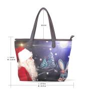 BENNIGIRY Womens Chriestmas Rabbit Bunny Shoulder Bags Leather Tote Top Handle Bags Ladies Handbag