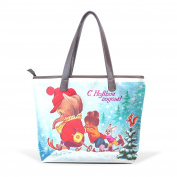 BENNIGIRY Womens Christmas Elephant Shoulder Bags Leather Tote Top Handle Bags Ladies Handbag