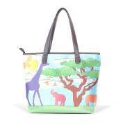 BENNIGIRY Elephant Giraffe Leather Tote Bag Handbag Shoulder Bag for Women Girls