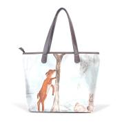 BENNIGIRY Womens Bunny Rabbit Painting Shoulder Bags Leather Tote Top Handle Bags Ladies Handbag