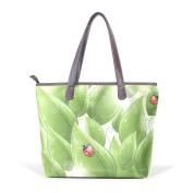 BENNIGIRY Ladybug Leather Tote Bag Handbag Shoulder Bag for Women Girls
