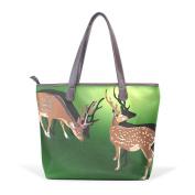 BENNIGIRY Women Large Tote Top Handle Shoulder Bags Deer Patern Ladies Handbag
