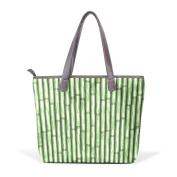 BENNIGIRY Women Large Tote Top Handle Shoulder Bags Bamboo Patern Ladies Handbag