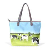 BENNIGIRY Funny Milk Cow Leather Tote Bag Handbag Shoulder Bag for Women Girls