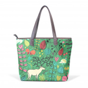 BENNIGIRY Women Large Tote Top Handle Shoulder Bags Floral Animal Owl Patern Ladies Handbag